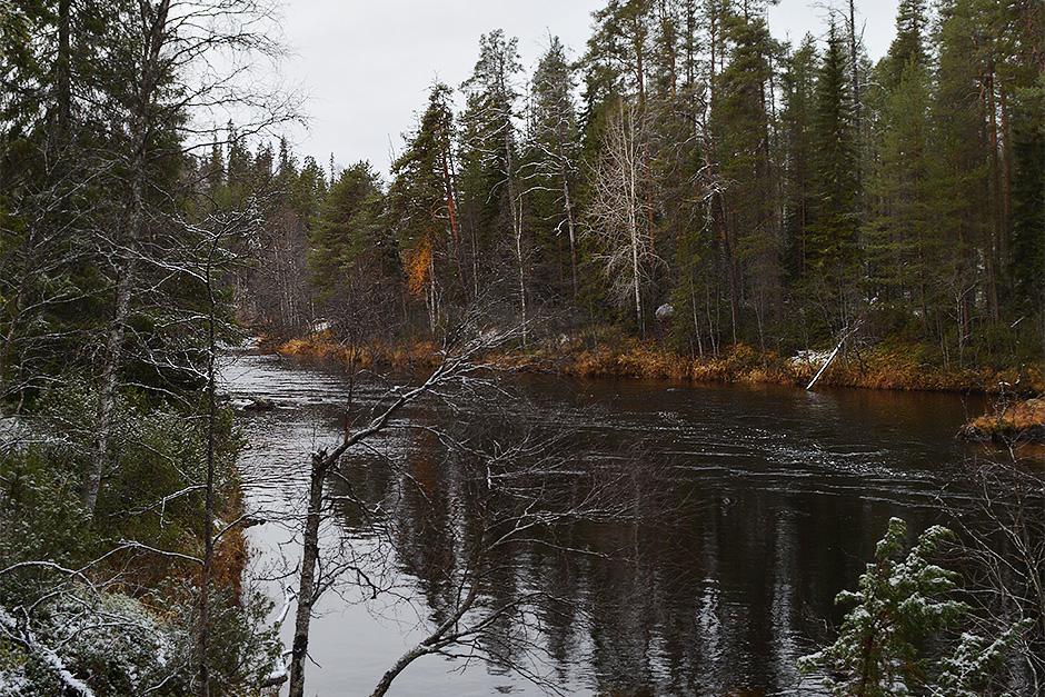 Maisema Oulankajoelle Kiutakönkään reitillä