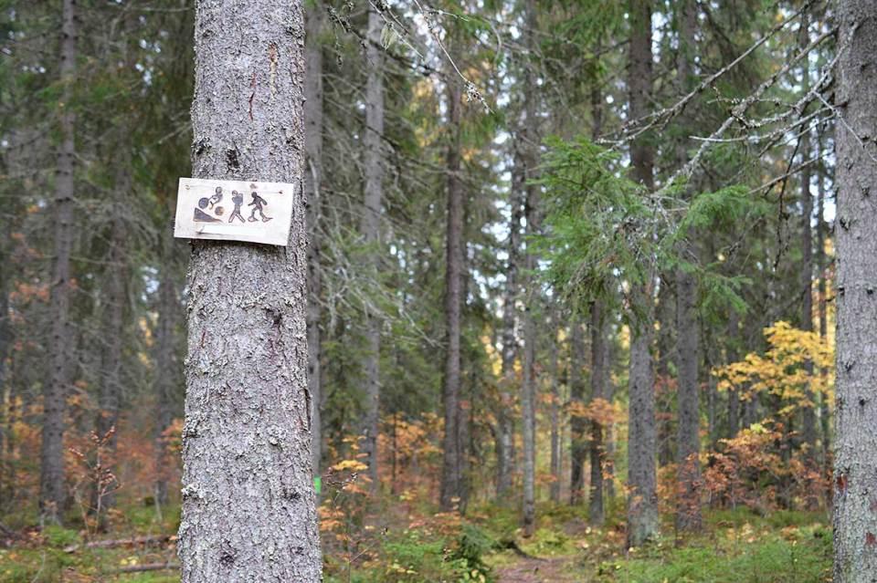 Kyltti joka näyttää reitin luontopolulle