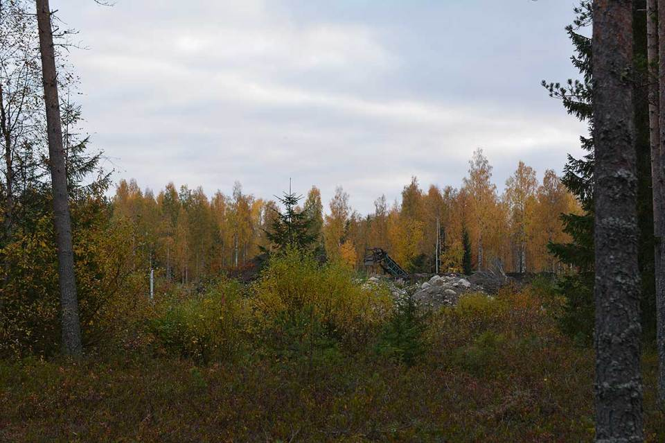 Työmaa metsän laidalla