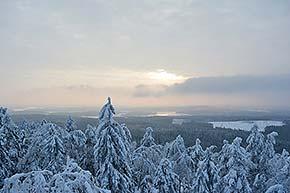 Pisan luonnonsuojelualue ja näköalatorni talvella